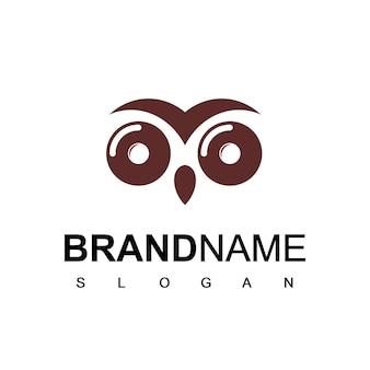 Modelo de logotipo de bolo rosquinha de coruja