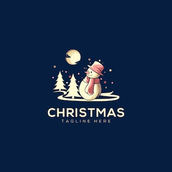 Modelo de logotipo de boneco de neve