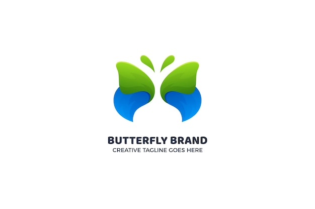Modelo de logotipo de borboleta bonita em azul e verde