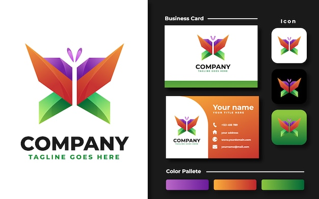 Modelo de logotipo de borboleta colorida e cartão de visita