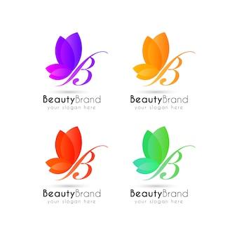 Modelo de logotipo de borboleta colorida