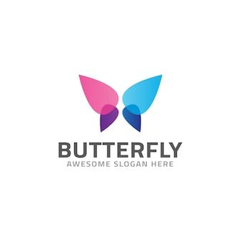 Modelo de logotipo de borboleta colorido abstrato