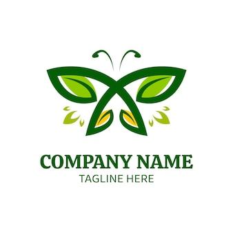 Modelo de logotipo de borboleta com asas de folhas