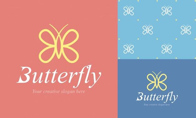 Modelo de logotipo de borboleta elegante