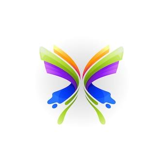 Modelo de logotipo de borboleta, logotipos de animais abstratos