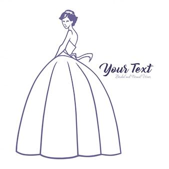 Modelo de logotipo de boutique de vestido de casamento