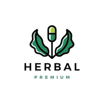 Modelo de logotipo de broto de árvore de folhas médicas de cápsulas de ervas