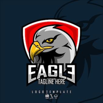 Modelo de logotipo de cabeça de águia com um formato pronto de fundo azul escuro eps 10