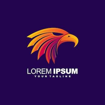 Modelo de logotipo de cabeça de águia impressionante