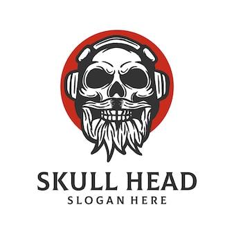 Modelo de logotipo de cabeça de caveira
