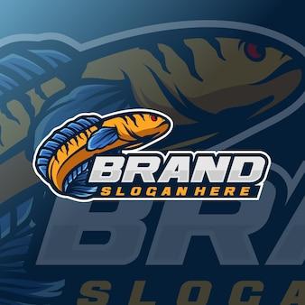 Modelo de logotipo de cabeça de cobra de peixe