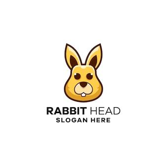Modelo de logotipo de cabeça de coelho