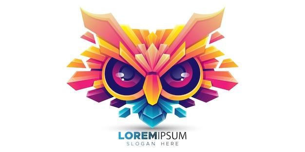Modelo de logotipo de cabeça de coruja