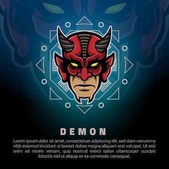 Modelo de logotipo de cabeça de demônio