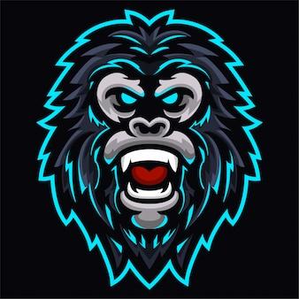 Modelo de logotipo de cabeça de gorila com raiva reis macaco
