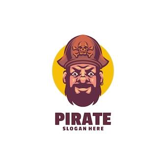 Modelo de logotipo de cabeça de pirata