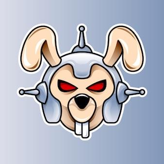 Modelo de logotipo de cabeça de robô de coelho