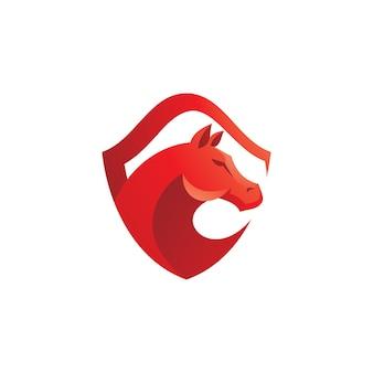 Modelo de logotipo de cabeça e escudo de cavalo