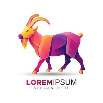 Modelo de logotipo de cabra da montanha colorida