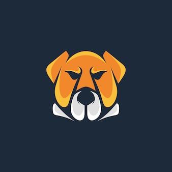 Modelo de logotipo de cachorro bull cabeça