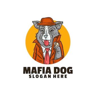 Modelo de logotipo de cachorro mafioso