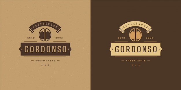 Modelo de logotipo de café com silhueta de feijão bom