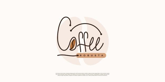 Modelo de logotipo de café para plano de negócios ou impressão com ideia criativa premium vector