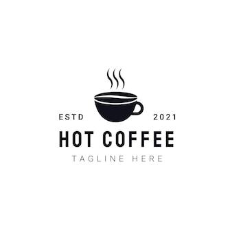 Modelo de logotipo de café quente. rótulos de cafeterias vintage modernas. ilustração do ícone do vetor