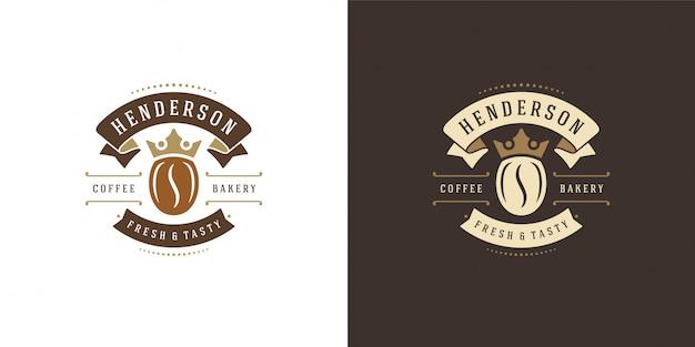 Modelo de logotipo de cafeteria com silhueta de feijão bom para emblema de café