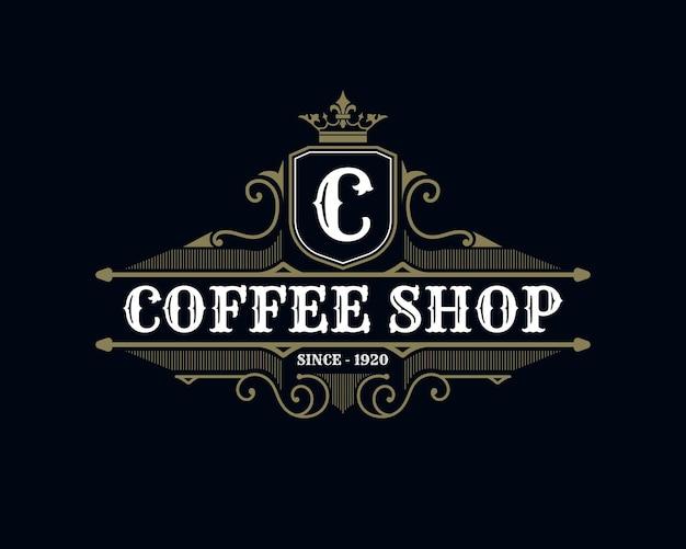 Modelo de logotipo de cafeteria estilo retro e luxo vintage