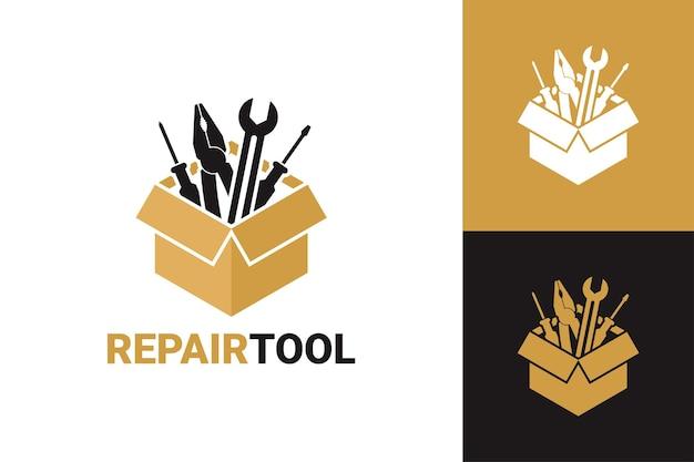 Modelo de logotipo de caixa de ferramentas de reparo vetor premium