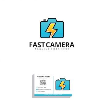 Modelo de logotipo de câmera rápida