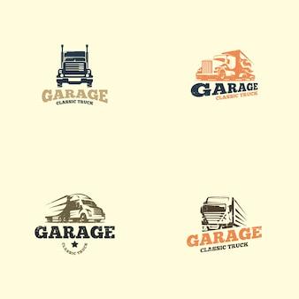 Modelo de logotipo de caminhão retrô
