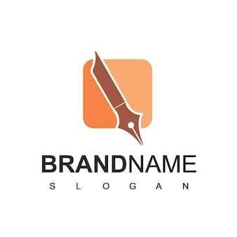 Modelo de logotipo de caneta feather símbolo de empresa de negócios
