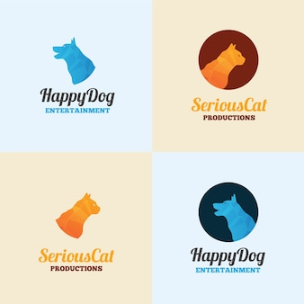 Modelo de logotipo de cão e gato