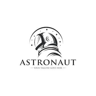 Modelo de logotipo de capacete de astronauta