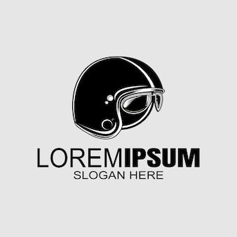Modelo de logotipo de capacete de motociclista.