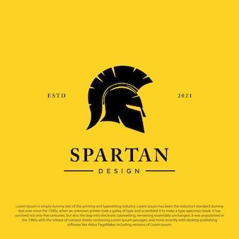 Modelo de logotipo de capacete espartano ilustração em vetor escudo ícone espartano