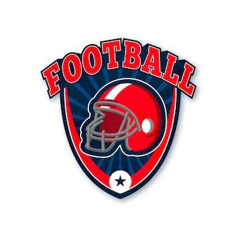 Modelo de logotipo de capacete vermelho de futebol americano