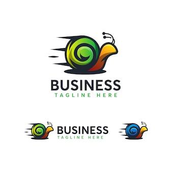 Modelo de logotipo de caracol rápido