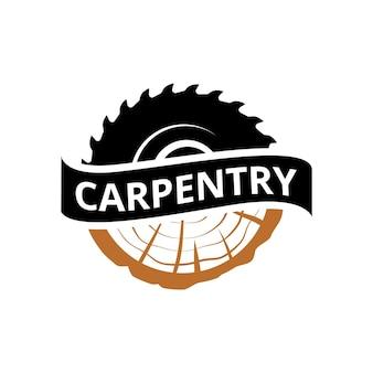 Modelo de logotipo de carpintaria de artesão de carpintaria vintage