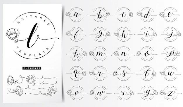 Modelo de logotipo de carta floral feminina Vetor Premium