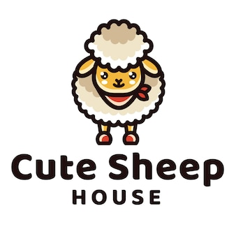 Modelo de logotipo de casa bonito ovelhas