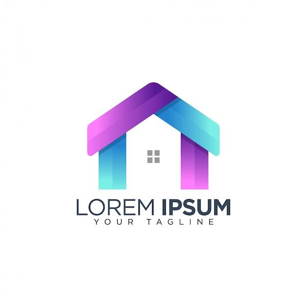 Modelo de logotipo de casa colorida
