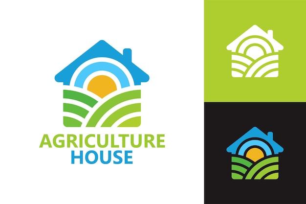 Modelo de logotipo de casa de agricultura vetor premium