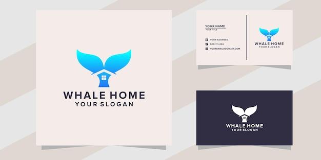 Modelo de logotipo de casa de baleia