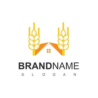Modelo de logotipo de casa de pão, ícone de loja de pão