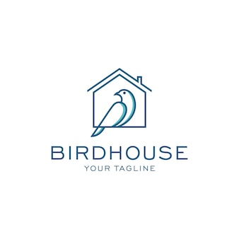 Modelo de logotipo de casa de pássaro