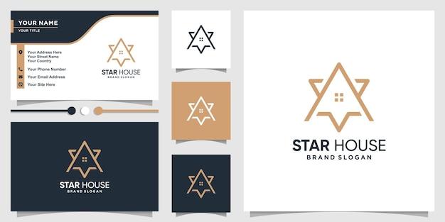 Modelo de logotipo de casa estrela com estilo de arte de linha criativa e design de cartão de visita premium vector