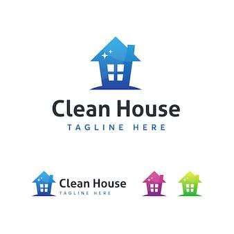 Modelo de logotipo de casa limpa